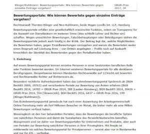 Kuhlmann – Bewertungsportale – Premonition (German)